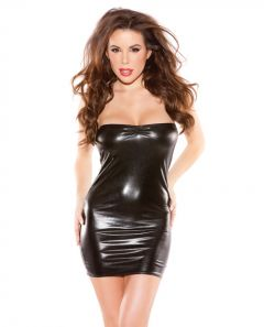 Kitten Wet Look Bandeu Dress