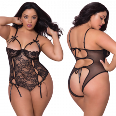 Functional Tie Lace Teddy With Open Back-Black Queen