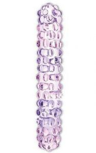 Purple Rose Nubby Glass Dildo by Glas