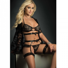 Lace Mini Robe, Bra Lingerie & Hiphugger Garter Belt Black O/S
